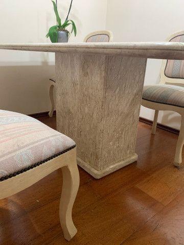 Mesa de jantar de mármore com 6 cadeiras - Foto 2