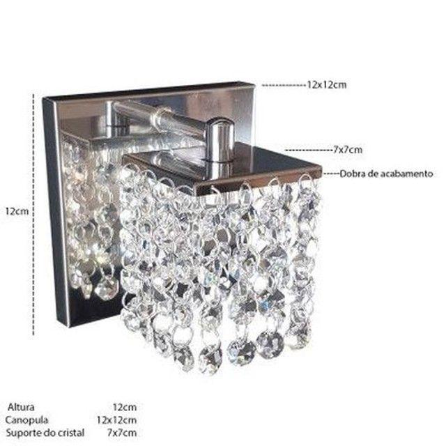 Arandela pequena Monaco cristais legitimos aço inox alto brilho com dobra de acabamento - Foto 2