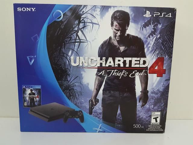 Ps4 slim modelo cuh-2015 com jogo uncharted 4 a thiefs end