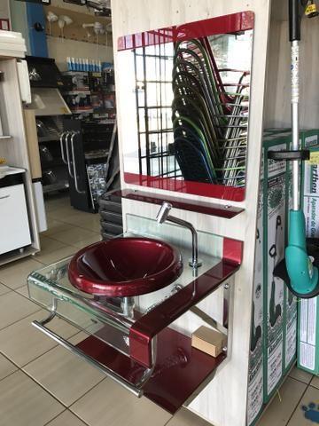 Conjunto Luxo Vidro com Cuba 60cm Bordo ou Preto