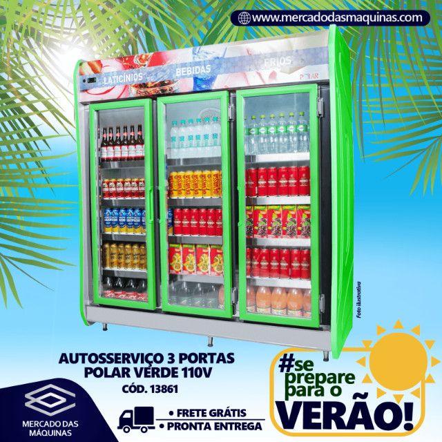 Expositor refrigerado de bebidas autosserviço 3 portas Novo Frete Grátis