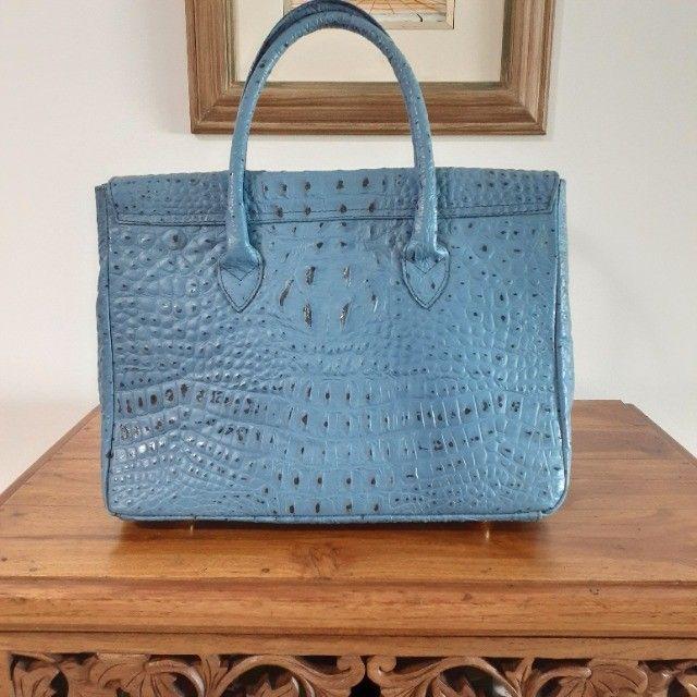 Linda Bolsa de Couro Estruturada Azul! Muito elegante! - Foto 2