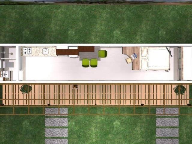 Casa container 30m2 com um quarto revestida em madeira em Chapeco - Foto 2