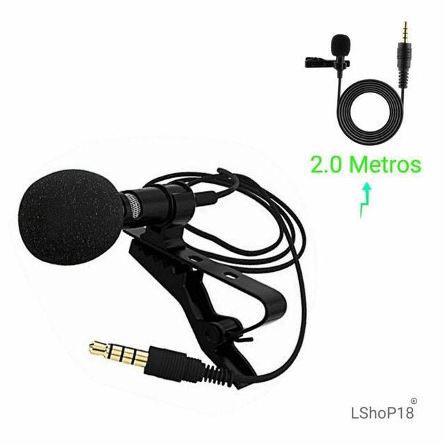 Microfone Lapela Profissional P3 Estéreo, Celular, Smartfone - Cabo 2 Metros