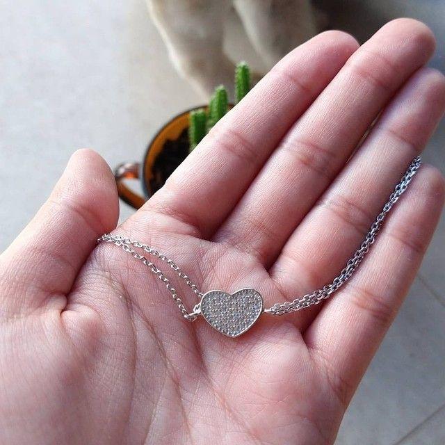 Pulseira de coração cravejada - Foto 2