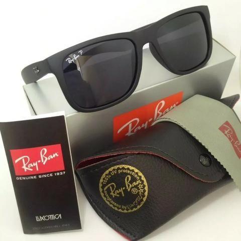 26e060a50 Óculos de Sol Ray Ban Justin Preto Polarizado RB4165 Unissex ...