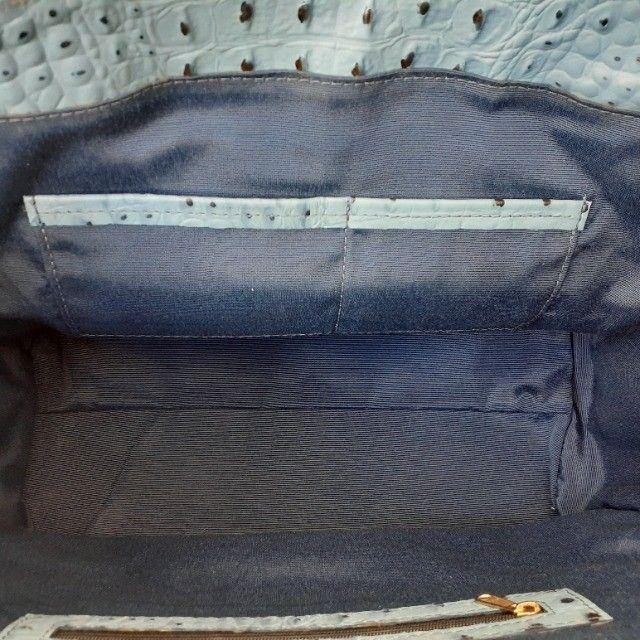 Linda Bolsa de Couro Estruturada Azul! Muito elegante! - Foto 5