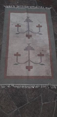 Tapete em lã natural Kilim indiano 90 x 150 cm