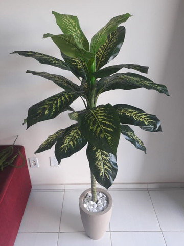 Planta artificial Comigo Ninguém Pode 1.40m + vaso para sua casa e escritório - Foto 2