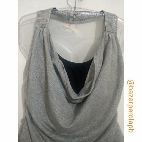 Blusa com alças em lantejoulas e decote nas costas - Foto 4