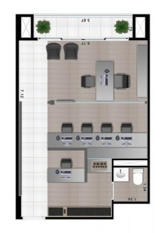 456 - Sala comercial 1 vaga 1 banheiro sacada Moema - Foto 4