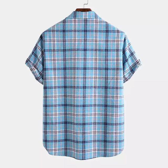 Camisa de Botão Xadrez Masculina - Azul Claro - Tamanho GG - Foto 2