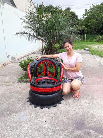 Artesanatos de pneus  - Foto 3
