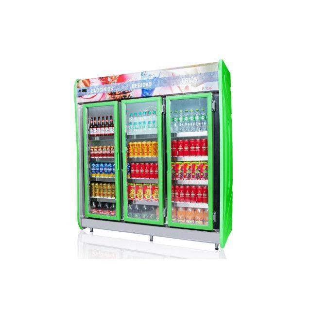 Expositor refrigerado de bebidas autosserviço 3 portas Novo Frete Grátis - Foto 2