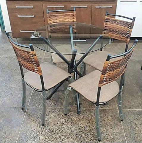 Conjunto de mesa junco 4 cadeiras - Foto 3