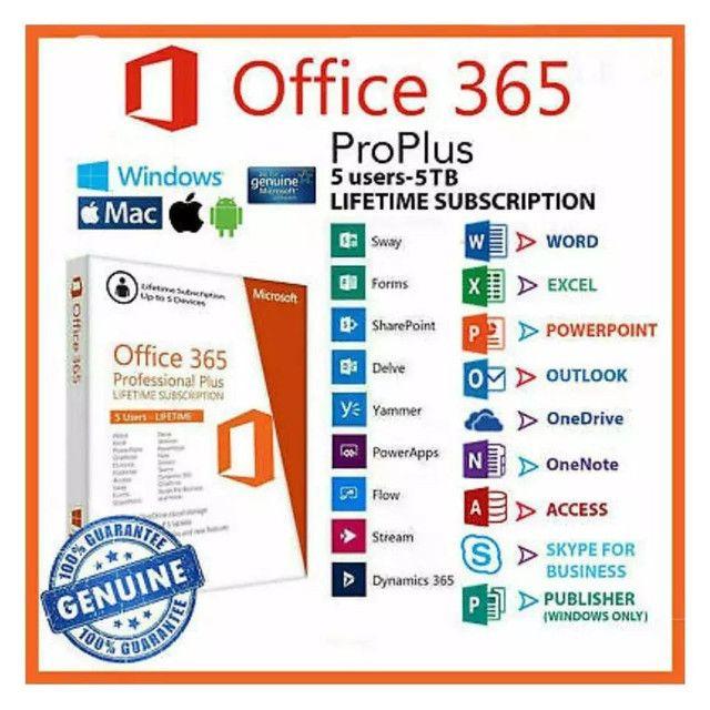 Pacote Office 365 2019+1tb onedrive original Microsoft