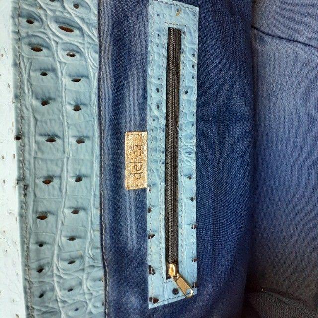 Linda Bolsa de Couro Estruturada Azul! Muito elegante! - Foto 6