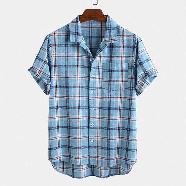 Camisa de Botão Xadrez Masculina - Azul Claro - Tamanho GG