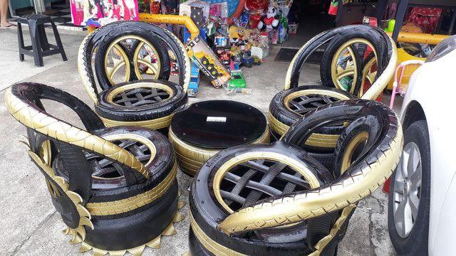 Artesanatos de pneus  - Foto 4