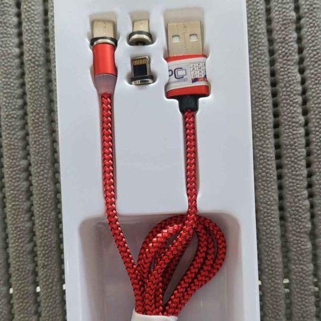 Cabo USB Magnético V8, iphone e tipo C - Foto 3