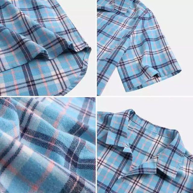 Camisa de Botão Xadrez Masculina - Azul Claro - Tamanho GG - Foto 3