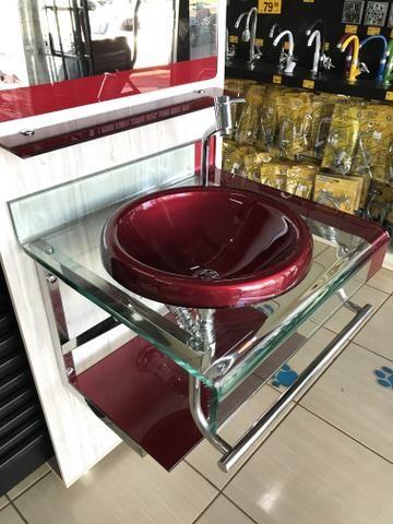 Conjunto Luxo Vidro com Cuba 60cm Bordo ou Preto - Foto 3