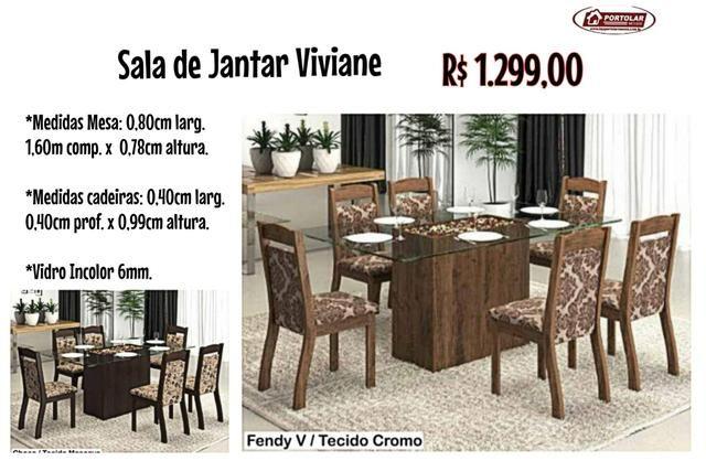 Mesa Jantar Viviane com 6 cadeiras , Entrega em 3 dias