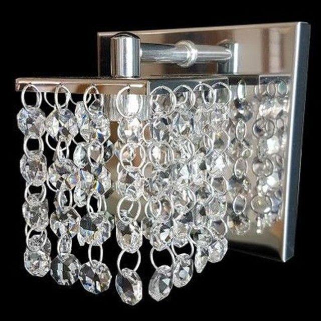 Arandela pequena Monaco cristais legitimos aço inox alto brilho com dobra de acabamento