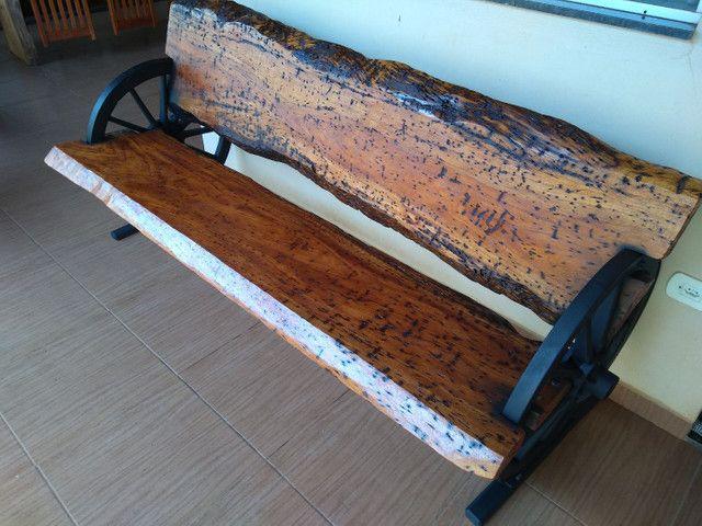 Banco rústico roda carroça - Foto 3