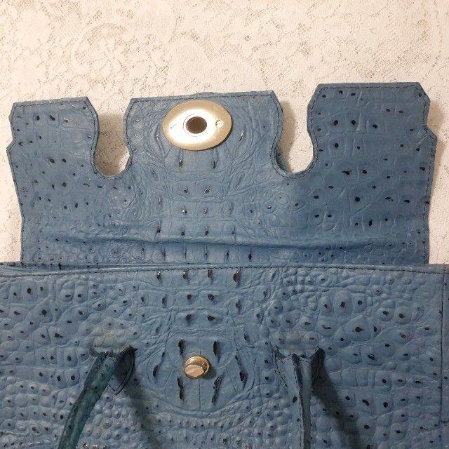 Linda Bolsa de Couro Estruturada Azul! Muito elegante! - Foto 4