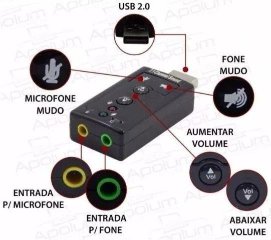 Placa Adaptador De Som Usb 7.1 Canais 3d Adaptador Audio Notebook PC - Foto 2