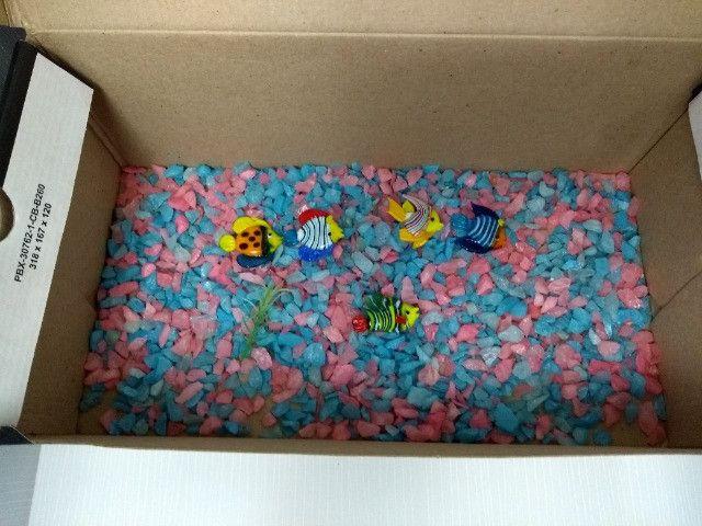 Cascalho pedrinhas para aquário + decoração com 5 peixinhos de vidro - 150g - Foto 2