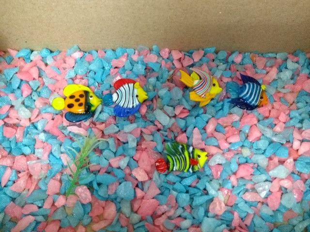 Cascalho pedrinhas para aquário + decoração com 5 peixinhos de vidro - 150g
