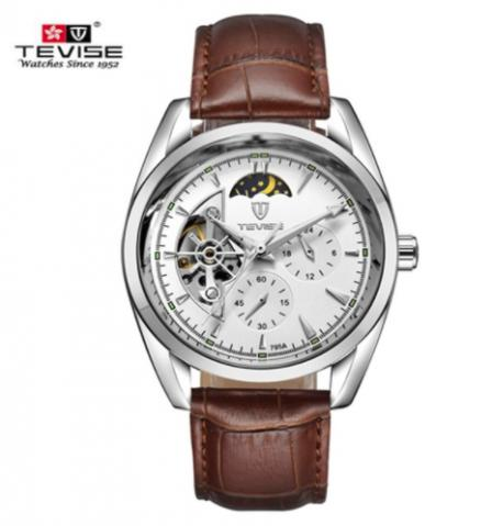 Tevise Marca de Luxo Mecânico Automático Relógio com Pulseira de Couro