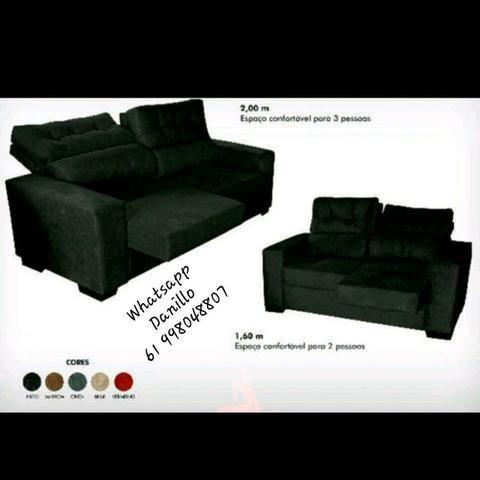jogo de sof retratil e reclinavel 1 60x2 00 mts super promo o m veis st ind gama. Black Bedroom Furniture Sets. Home Design Ideas