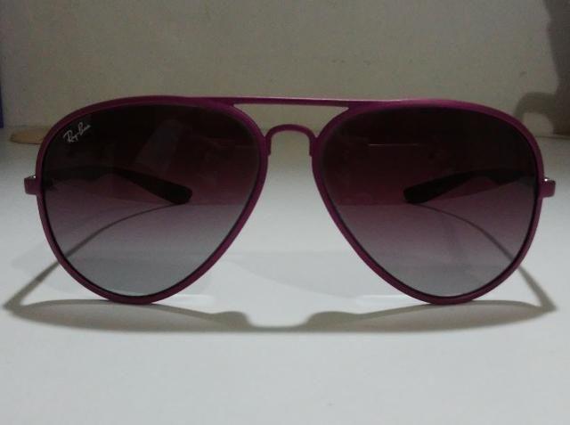Óculos De Sol Importado Ray-Ban Aviator Liteforce RB4180 Roxo - Foto 4