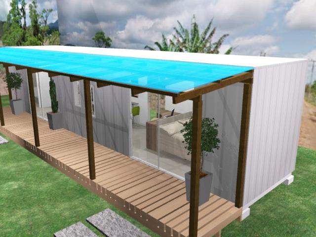 Casa container 30m2 com um quarto revestida em madeira em Chapeco - Foto 3