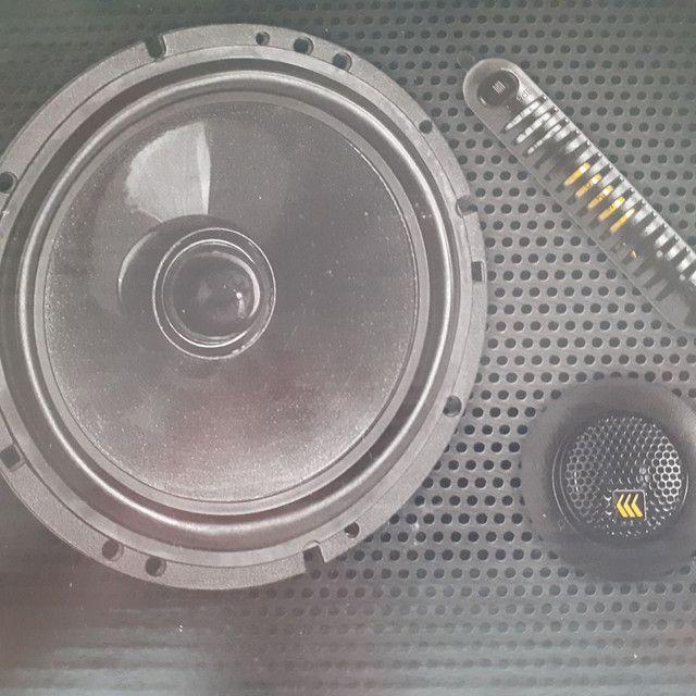 "Alto falante BRAVOX. Kit 2 vias. 6"", 65 RMS. Novo. R$ 420,00  instalado."