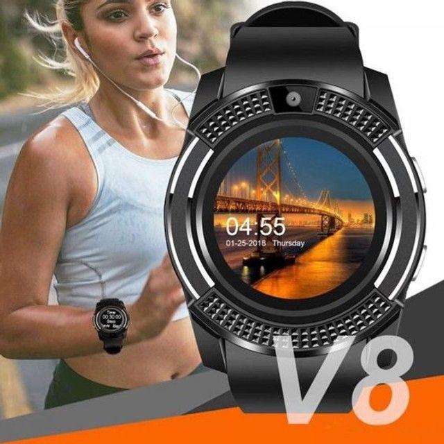 Relógio Funções Celular App com Câmera Smartwatch V8 - Foto 5