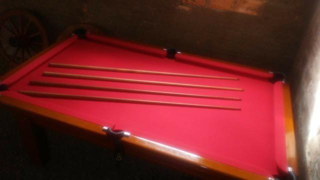 Mesa Tentação de Bilhar Cor Imbuia Tecido Vermelho Mod. UXUL2356 - Foto 3