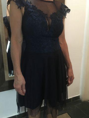 Vestido Azul Marinho ( Túli com renda ) - Foto 4