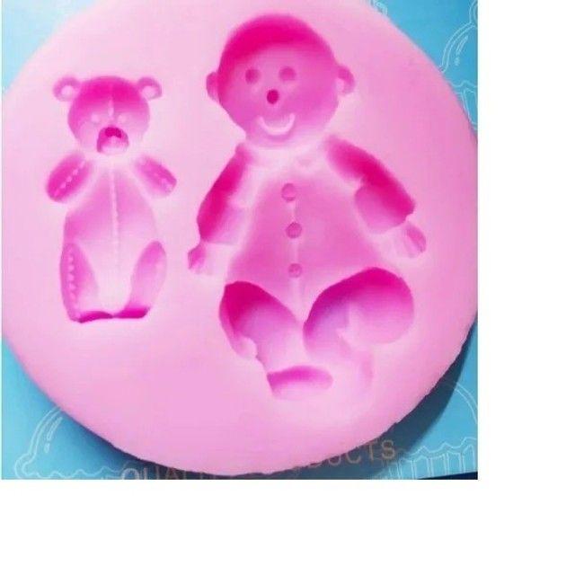 Forma Molde de silicone formato de Menino e Ursinho para Confeitaria