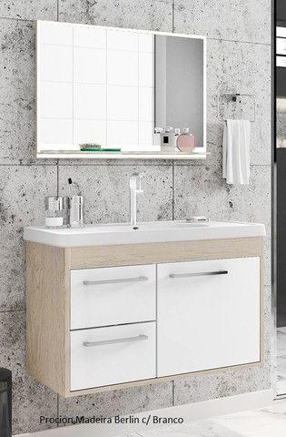 Conj. Procion 63cm - Gabinete de Banheiro + Espelheira + Suporte Vidro e Cuba - 100% MDF - Foto 2