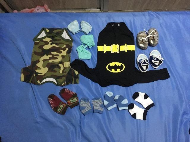 Lote roupas bebê P, M e G. + canguru.Brinde 2 cueiros nunca usados e 2 sapatinhos + meias