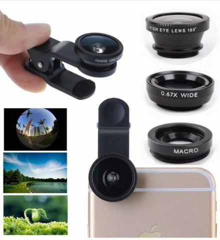eb13d62ad33 Transforme seu celular em uma camêra profissional Lentes para Celular  Fisheye + Wide/Macro