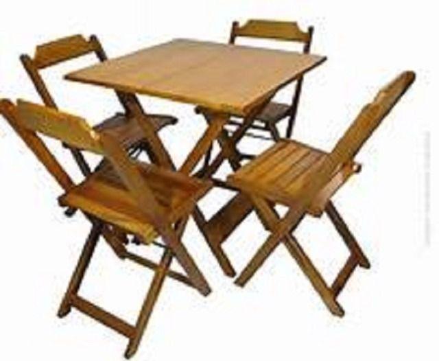 Grande Liquidação - Mesa e Cadeiras Dobráveis de Madeira - Linha Especial - Foto 5