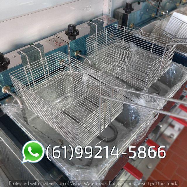 Fritadeira 10 Litros 2 Cubas Inox Quadrada 300 graus Elétrica Irmãos Ribeiros - Foto 4