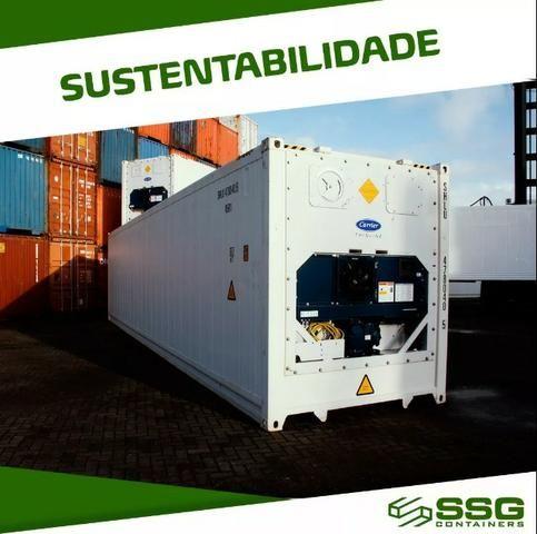 Container Frigorífico 40 pés Refrigerado Câmara Fria 12 metros Conteiner usado aço inox - Foto 2