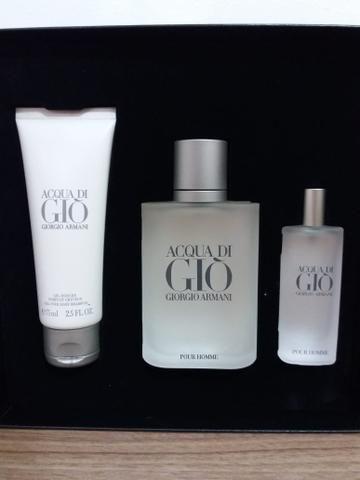 Kit Perfume Acqua Di GIO Masculino EDT 100Ml + Travel Size 15Ml + Shower Gel 355d5451d3
