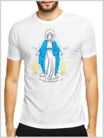 Camiseta em algodão + serigrafia : temática Católica